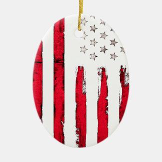 Ornamento De Cerâmica Grunge vermelho novo da bandeira americana