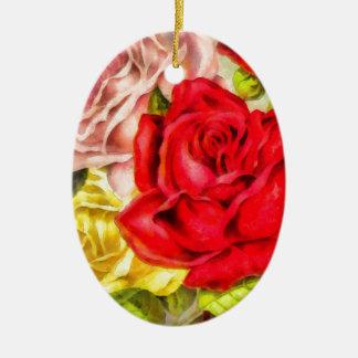 Ornamento De Cerâmica Grupo da aguarela dos rosas