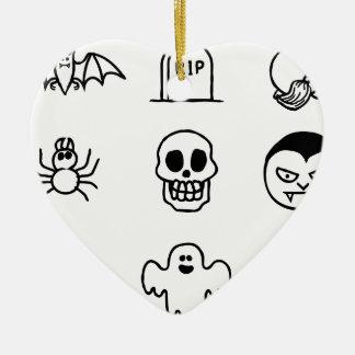 Ornamento De Cerâmica Grupo tirado mão do ícone do Dia das Bruxas