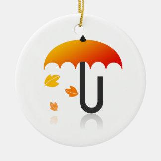 Ornamento De Cerâmica Guarda-chuva e folhas