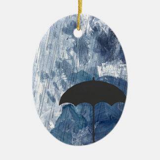 Ornamento De Cerâmica Guarda-chuva no chá azul