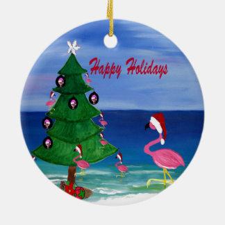Ornamento De Cerâmica Guarnição do Natal do flamingo do papai noel uma