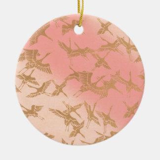 Ornamento De Cerâmica Guindaste dourado de Origami