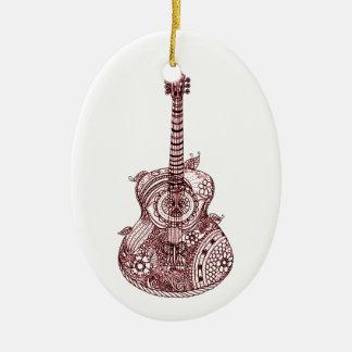 Ornamento De Cerâmica Guitarra