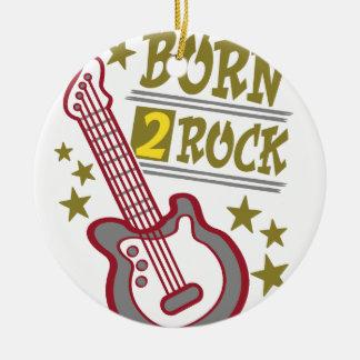 Ornamento De Cerâmica Guitarra nascida da rocha, design do guitarrista