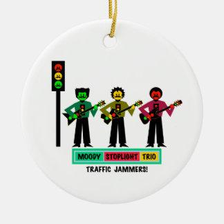 Ornamento De Cerâmica Guitarristas temperamentais 2 do Mustachio do trio