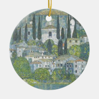 Ornamento De Cerâmica Gustavo Klimt - igreja no trabalho de arte de