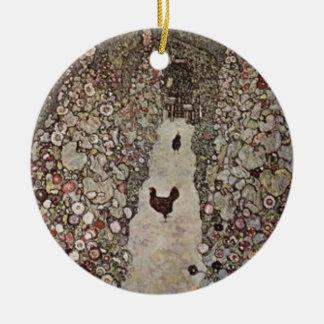 Ornamento De Cerâmica Gustavo Klimt - jardim com galos