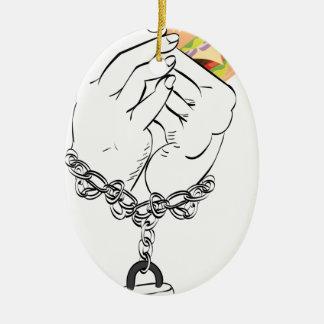 Ornamento De Cerâmica Hamburguer e mãos saborosos grandes