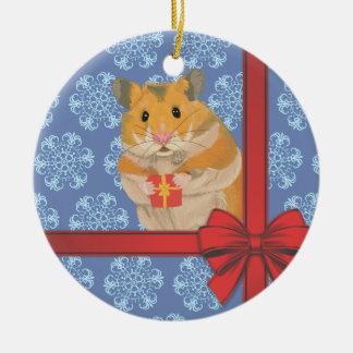 Ornamento De Cerâmica Hamster do Natal dos flocos de neve
