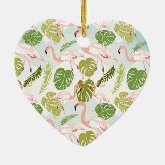 Ornamento De Cerâmica Hand drawn pink flamingo and monstera leaves. Seam