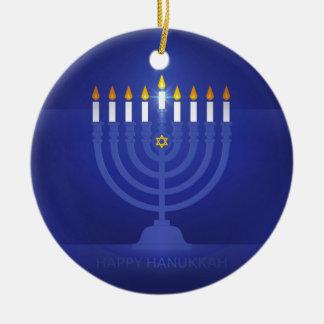 Ornamento De Cerâmica hanukkah feliz azul