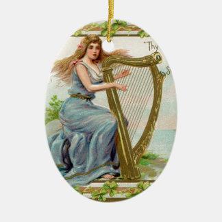 Ornamento De Cerâmica Harpa & senhora originais do dia de patrick de