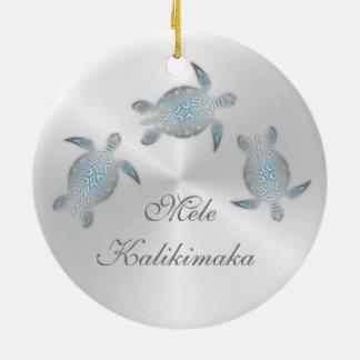 Ornamento De Cerâmica Hawaiian animal de prata da tartaruga de mar
