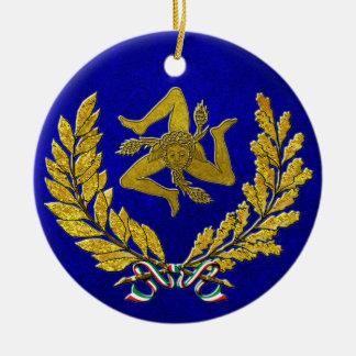 Ornamento De Cerâmica Herança siciliano de Trinacria no ouro no azul
