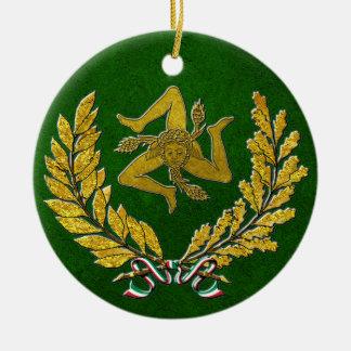 Ornamento De Cerâmica Herança siciliano de Trinacria no ouro no verde