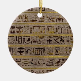 Ornamento De Cerâmica Hieroglyphs egípcios dourados de Pyrographed na