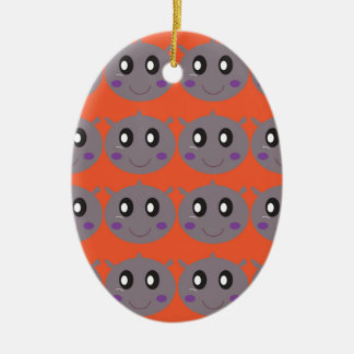 Ornamento De Cerâmica Hipopótamos pequenos bonitos na laranja