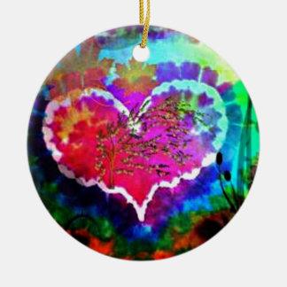 Ornamento De Cerâmica Hippy na coleção do presente da tintura do laço do