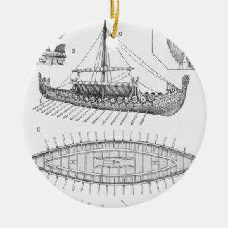 Ornamento De Cerâmica História e diagrama do navio de Viking do vintage