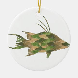 Ornamento De Cerâmica Hogfish do Camo do Deb do mergulhador