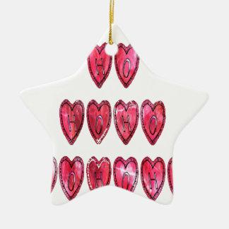 Ornamento De Cerâmica Hohoho! O papai noel refrigera o desi do amor do