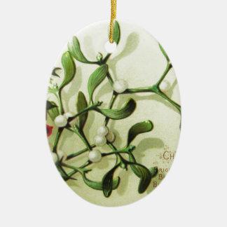 Ornamento De Cerâmica Holly_Christmas_card_