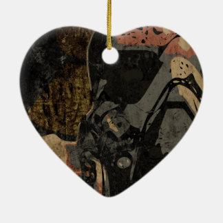 Ornamento De Cerâmica Homem com máscara protetora na placa de metal