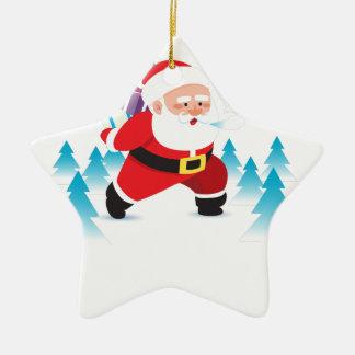 Ornamento De Cerâmica homem da neve da rena do Natal de Papai Noel
