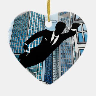Ornamento De Cerâmica Homem de negócios do super-herói