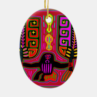 Ornamento De Cerâmica Homem de San Blas Kuna com fãs