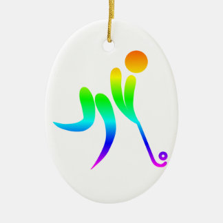 Ornamento De Cerâmica Hóquei em campo do arco-íris