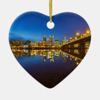 Ornamento De Cerâmica Hora do azul da skyline da cidade de Portland OU
