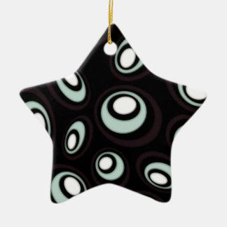 Ornamento De Cerâmica Hortelã & Ovals retros deslocados creme