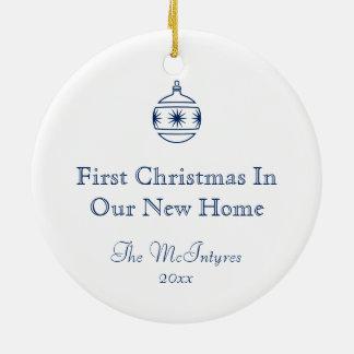 Ornamento De Cerâmica Housewarming novo azul do endereço da casa rústica