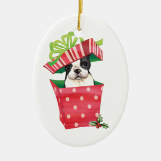 Ornamento De Cerâmica Howliday feliz Boston Terrier