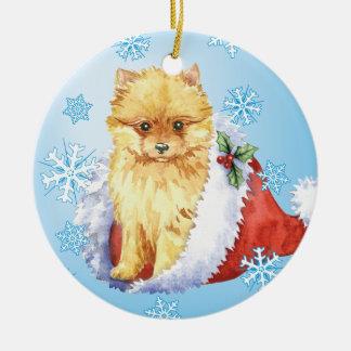 Ornamento De Cerâmica Howliday feliz Pomeranian