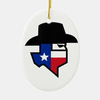 Ornamento De Cerâmica Ícone da bandeira de Texas do bandido