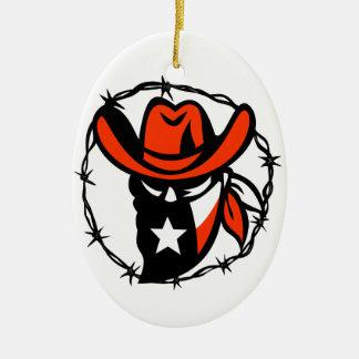 Ornamento De Cerâmica Ícone foragido do fio de Barb da bandeira de Texas