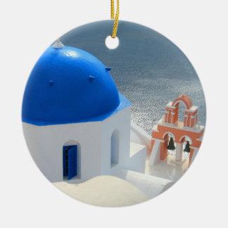 Ornamento De Cerâmica Igreja de Santorini na tarde Sun