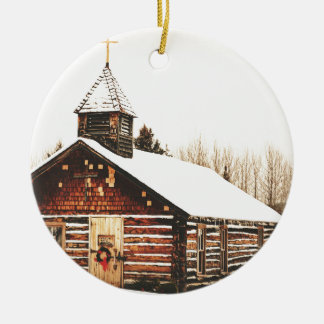 Ornamento De Cerâmica igreja e neve