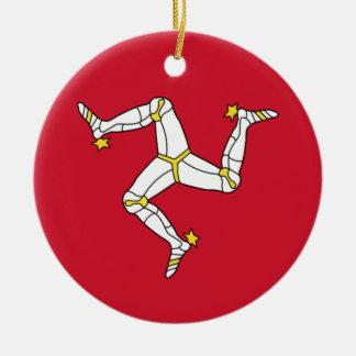 Ornamento De Cerâmica Ilha da bandeira do homem - bandeira Manx -