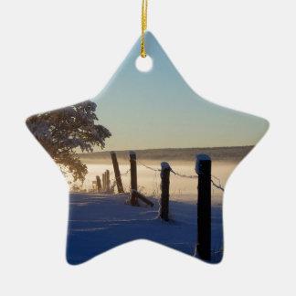 Ornamento De Cerâmica Ilha de St Joseph da manhã do inverno