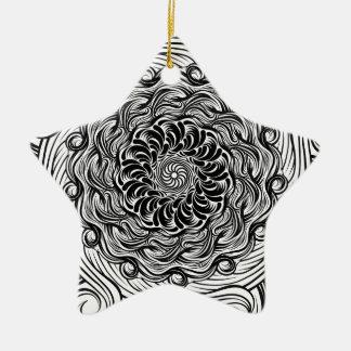 Ornamento De Cerâmica Ilusão óptica do Doodle ornamentado do zen preto e