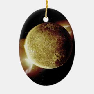 Ornamento De Cerâmica ilustração amarela do planeta 3d no universo