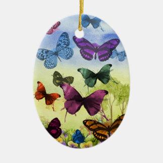 Ornamento De Cerâmica Ilustração colorida das borboletas da aguarela