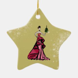 Ornamento De Cerâmica Ilustração da forma do Natal com árvore