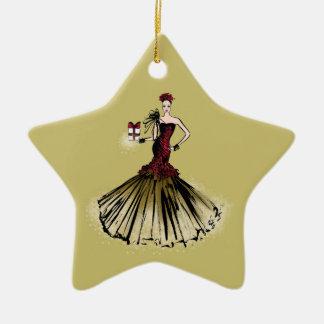Ornamento De Cerâmica Ilustração da forma do Natal com pacote