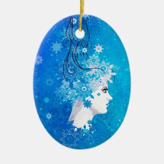 Ornamento De Cerâmica Ilustração da menina do inverno