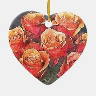 Ornamento De Cerâmica Ilustração das rosas vermelhas